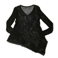 Eileen Fisher Open Knit Crochet Sweater Size XS Black Asymmetrical Hem Tunic