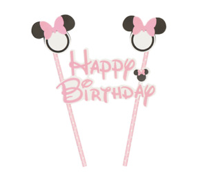 Minnie Mouse Pink Bow Flag Cake Topper Happy Birthday Party Decoration