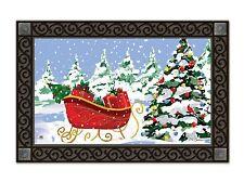 """Sleigh Stop Christmas Doormat Christmas Tree Indoor Outdoor 18"""" x 30"""" MatMates"""