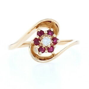 Yellow Gold Diamond & Ruby Flower Halo Bypass Ring - 14k Round Brilliant .29ctw