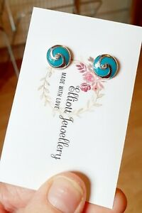 Small Turquoise Blue Diamante Stud Earrings