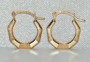 9CT GOLD CHILDRENS BABY's HOOP EARRINGS - DIAMOND CUT PATTERN - SOLID 9CT GOLD