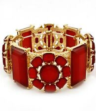 Red Lucite Stud Rectangle And Flower Stud Gold Tone Base Stretch Bracelet