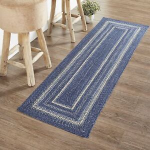 """VHC Brands Farmhouse 22""""x72"""" Area Rug Blue Great Falls Blend Kitchen Table Decor"""