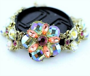 GORGEOUS High End RAINBOW Crystal FLOWER Rhinestone Betsey Johnson Bracelet 5759