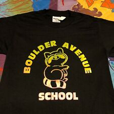 Vintage 80s Boulder Avenue School T Shirt Youth L Black Elementary Billings Mt