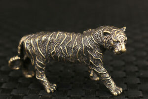 Chinese bronze tea pet tiger statue figure good stand table deco Art noble gift