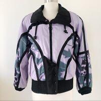 Vintage 80s Bomber Ski Jacket Lavender Black Colorblock Women Size Small