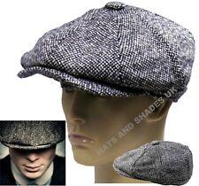 Peaky Blinders Gatsby Newsboy Hat Grey Tweed Flat 8 Panel Baker Boy Bakerboy Men