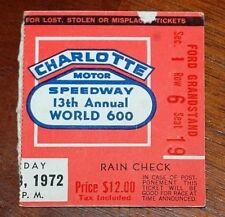 Nascar 1972 World 600 ticket stub Buddy Baker won