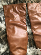 Zara Over The Knee Thigh High Leather Boots Tan RRP £159.99 U.K. 7 EUR 40 US 9