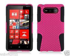 Nokia Lumia 820 Mesh Hybrid Hard Case Skin Cover Accessory Hot Pink/Black