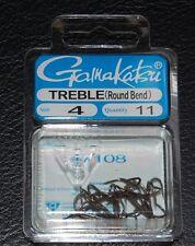 11 Pack Gamakatsu 47108 Round Bend Bronze Treble Hooks - Size 4 Super Sharp
