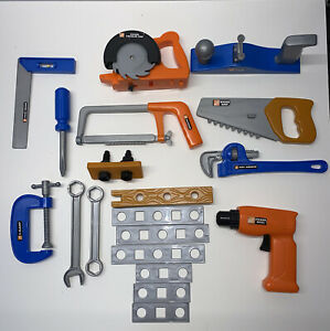 Home Depot Childrens Pretend Toy Tool Lot Hacksaw Pipe Wrench Clamp etc