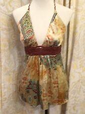 Sky Brand Silk Braided Leather Belt Floral Print Halter Top Blouse Shirt NWT Med