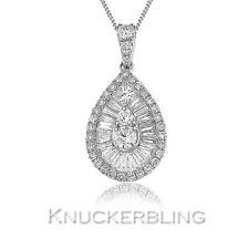 18Carat White Gold Baguette Fine Diamond Necklaces & Pendants