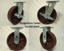 "8"" x 2"" Swivel Casters Kingpinless Ductile Steel Wheel Brake (2)Rigid(2) 2000lb"