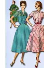 1950s Vintage Simplicity Sewing Pattern 2070 Uncut Misses Tucked Dress Size 36B