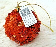 "Orange Sequin Vickerman Ball Christmas Ornament Beaded 3"" Lavish Lot of 10 Balls"
