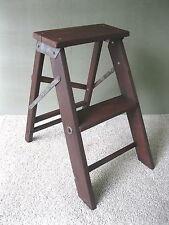 """Vintage Primitive 2-Step Stepstool Pine Wood Folding Stool Ladder, 18-3/4"""" Tall"""