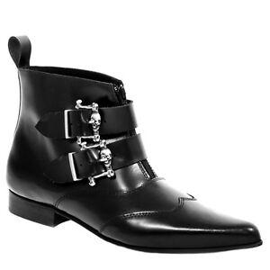 Boots & Braces Herren Winkelpiker 2 Buckle Leder Schuhe mit Schnallen schwarz