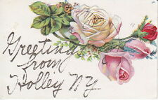 Roses, Glitter, Greetings From Holley, NY,  Pre-Linen  Postcard