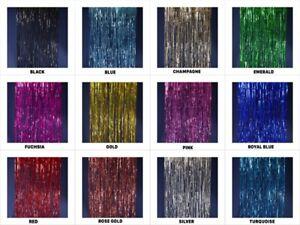 """FOIL BACKDROP 40""""x10'  Party Fringe Curtain Decor Choose Color"""