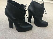 Bottega Veneta black leather platform boots UK4