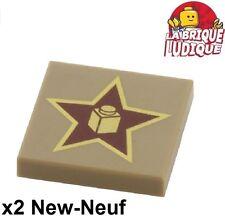 Lego - 2x Tile decorated 2x2 Gold Star étoile beige f/dark tan 3068bpb0655 NEUF