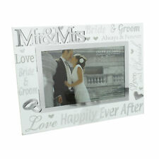 Mr & Mrs Glass 6 x 4 Photo Frame with Mirror & Glitter Letters