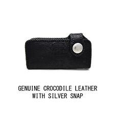 GENUINE BLACK CROCODILE HANDCRAFTED LEATHER LONG BI-FOLD BIKER WALLET hcw-7