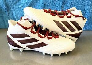 Adidas Freak Carbon Mid Football Cleats White Maroon Burgundy  Size 10