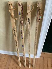 "New listing 4 Vintage 36"" Advertising Wood Square Yardsticks Walking Stick Cane Leather Loop"