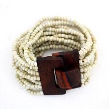 Creme Bali Bracelet Glass Beads w/ Wood Buckle Elastic Stretchy Costume Jewelry