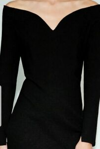 BNWT ZARA BLACK LIMITED EDITION SWEETHEART NECKLINE DRESS SIZE L