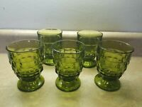 5 Vintage Whitehall Colony Indiana Glass Avocado Green Juice Glass Footed Cube