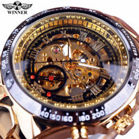 Winner Men's Hollow Skeleton Mechanical Watch Self-Winding Stainless Steel Watch
