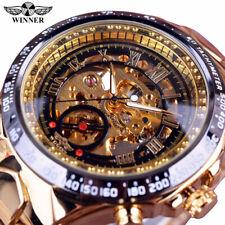 Winner Men's Hollow Skeleton Mechanical Watch Self-Winding Stainless Steel Watch