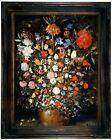 Brueghel Flowers in a Wooden Vessel 1606 Wood Framed Canvas Print Repro 12x16