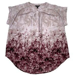 SIMPLY VERA WANG Women's Top Sz XL Purple Pink Flowers Floral Shirt Tunic Button
