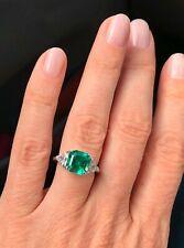 Emerald Asscher Cut 3 Stone Engagement Wedding Anniversary Ring 14K White Gold