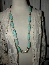 "TURQUOISE CRAZED CERAMIC BEAD & FAUX PEARL 38"" VINTAGE NECKLACE  C'70'S"