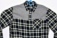 JT Jack Threads Mens Shirt Sz Large Blue Plaid Button Front Flannel Long Sleeve
