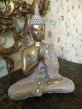More details for beautiful thai buddha -sat in the lotus position gold and white ornament h28 cm