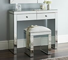 Niches Mirror Makeup 2 Drawers Dressing Table Vanity Set & Matching Padded Stool