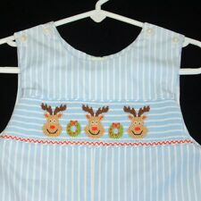 fd024ec41 Petite Palace Blue White Stripe Smocked Reindeer Longall Romper Boys 12 Mo  NEW