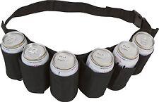 Portable 6 Pack Beer Soda Can Holster Drink Bag Party Holder Belt Black