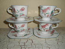 8pc MIKASA Continental Silk Rose 4 Cups & 4 Octagon Saucers F3003