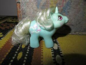 Vintage My Little Pony Baby Wiggles MLP aqua w/ white hair inchworms Unicorn