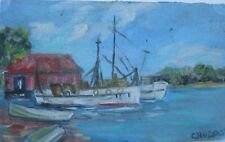"CHARLES HUDSON AUSTRALIAN OIL ""SHED AND PRAWNING BOATS TWEED RIVER"" C 1960"